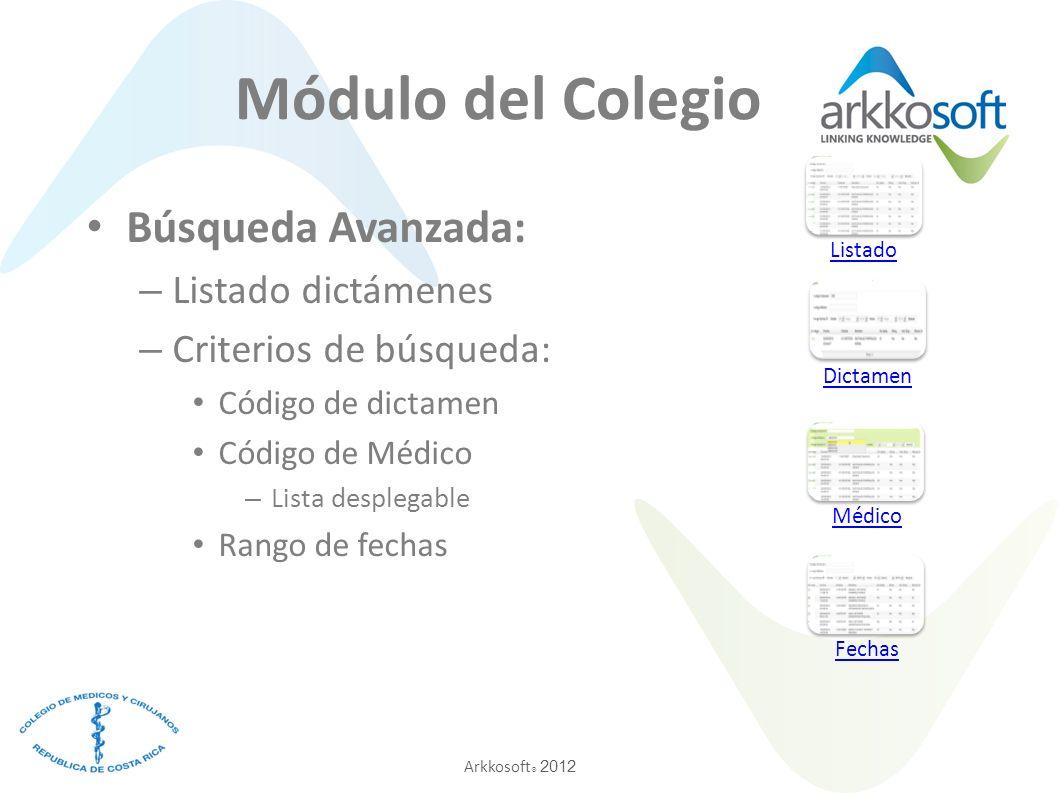 Módulo del Colegio Búsqueda Avanzada: Listado dictámenes