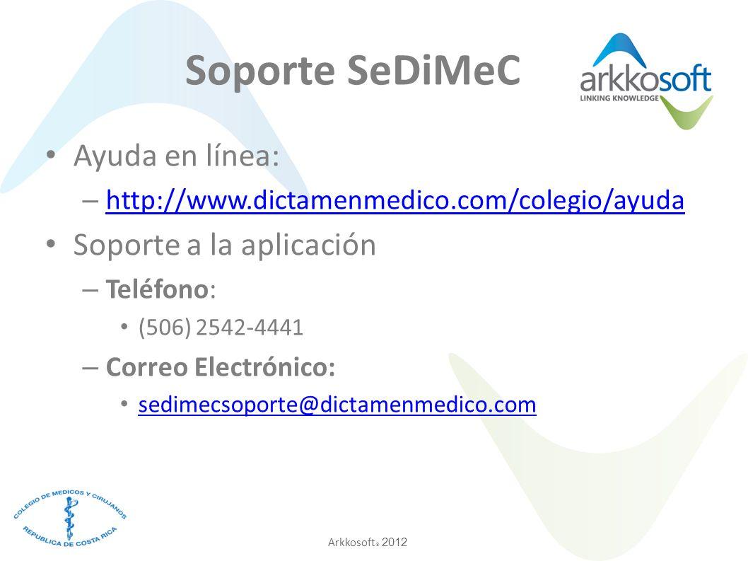 Soporte SeDiMeC Ayuda en línea: Soporte a la aplicación