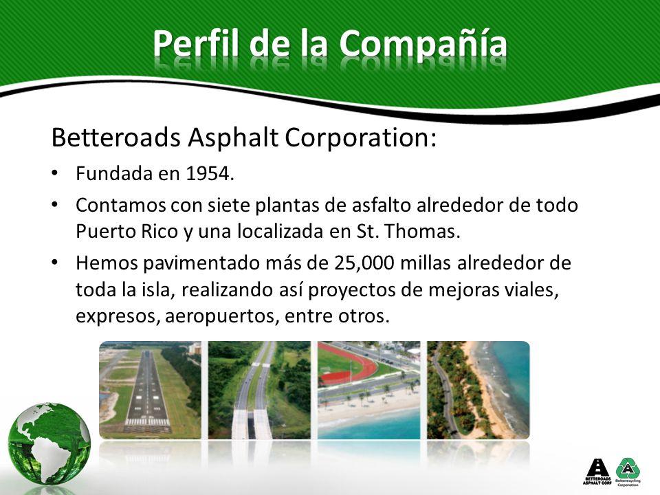 Perfil de la Compañía Betteroads Asphalt Corporation: Fundada en 1954.