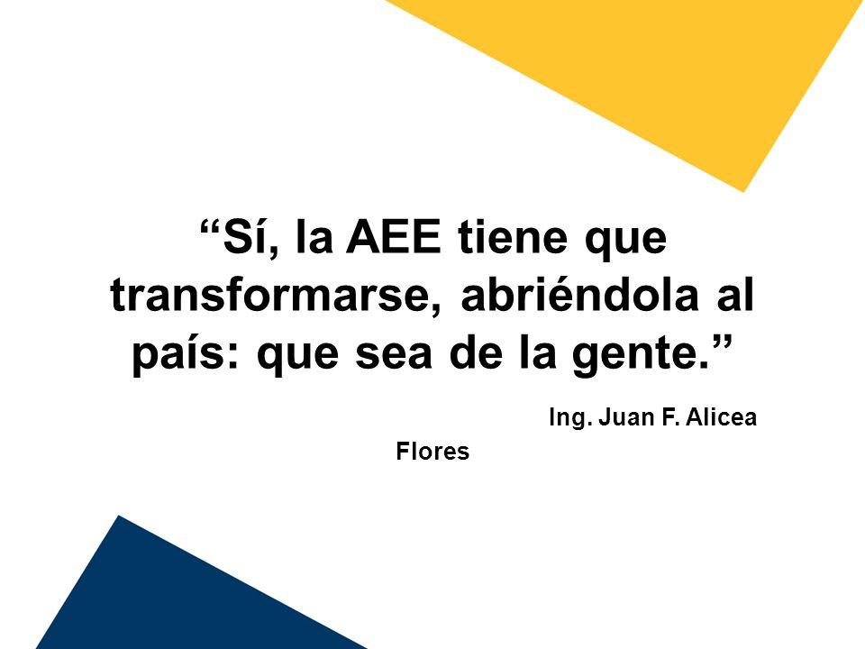 Sí, la AEE tiene que transformarse, abriéndola al país: que sea de la gente. Ing.