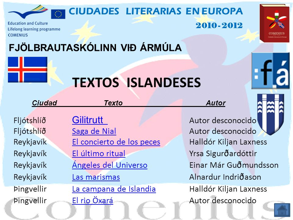 TEXTOS ISLANDESES CIUDADES LITERARIAS EN EUROPA