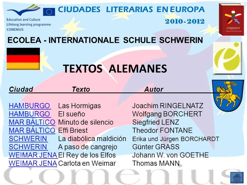 TEXTOS ALEMANES CIUDADES LITERARIAS EN EUROPA