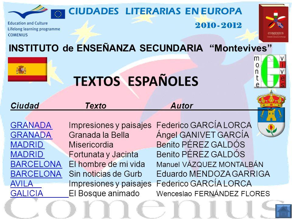 TEXTOS ESPAÑOLES CIUDADES LITERARIAS EN EUROPA