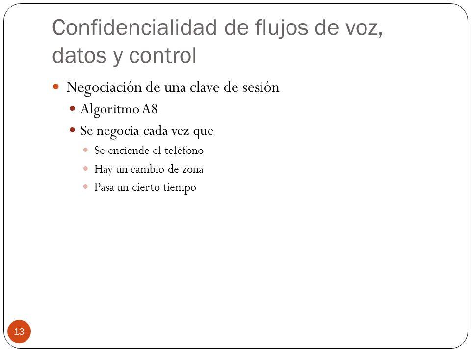 Confidencialidad de flujos de voz, datos y control