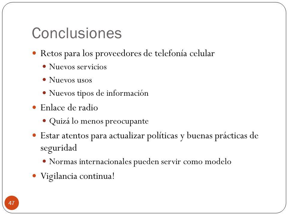 Conclusiones Retos para los proveedores de telefonía celular