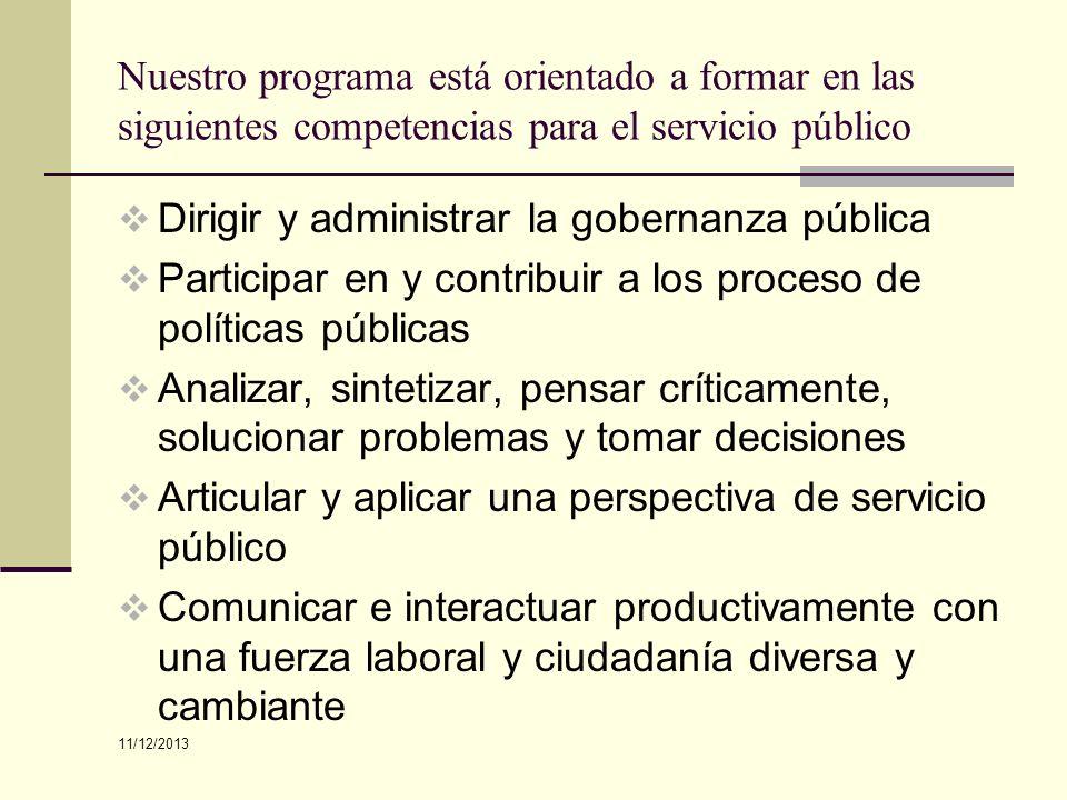 Dirigir y administrar la gobernanza pública