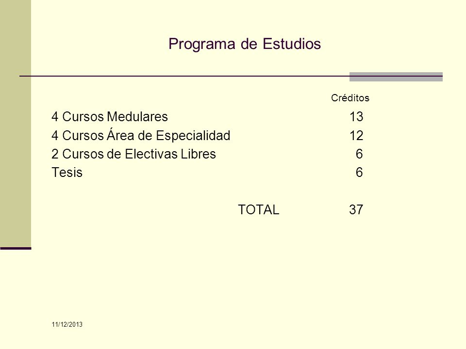 Créditos Programa de Estudios 4 Cursos Medulares 13