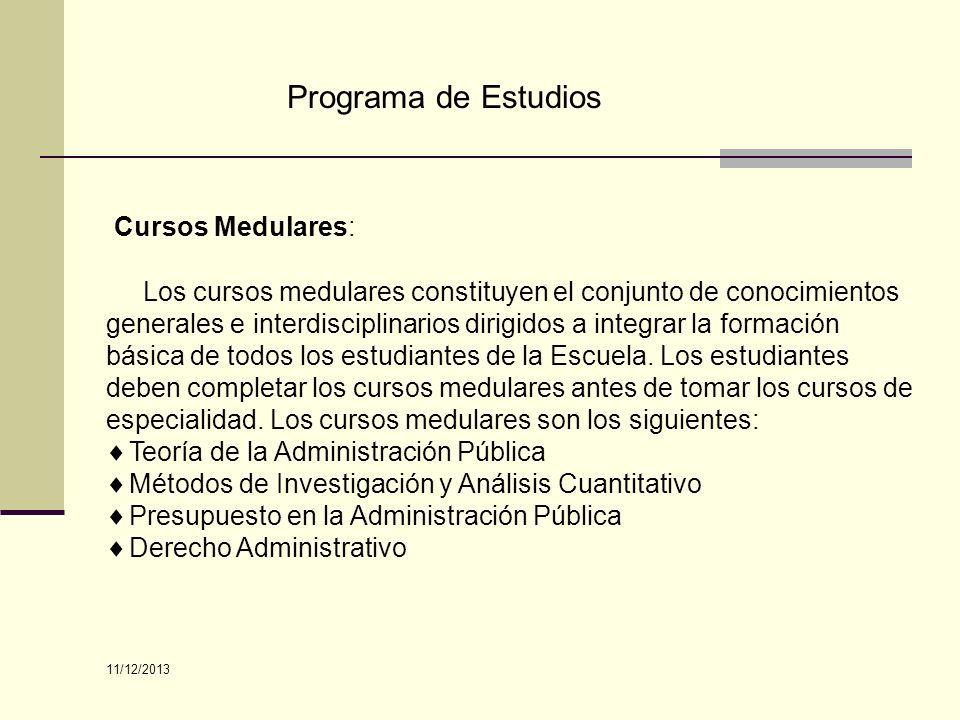 Programa de Estudios Cursos Medulares:
