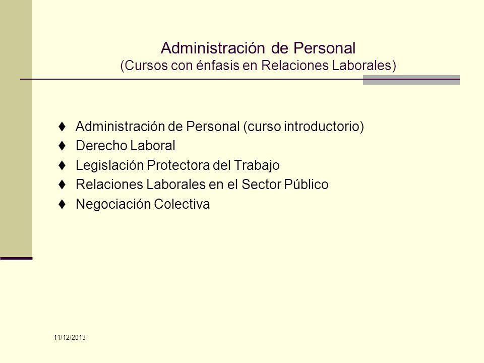 Administración de Personal (Cursos con énfasis en Relaciones Laborales)
