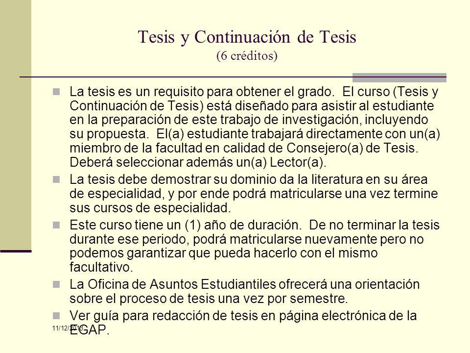 Tesis y Continuación de Tesis (6 créditos)
