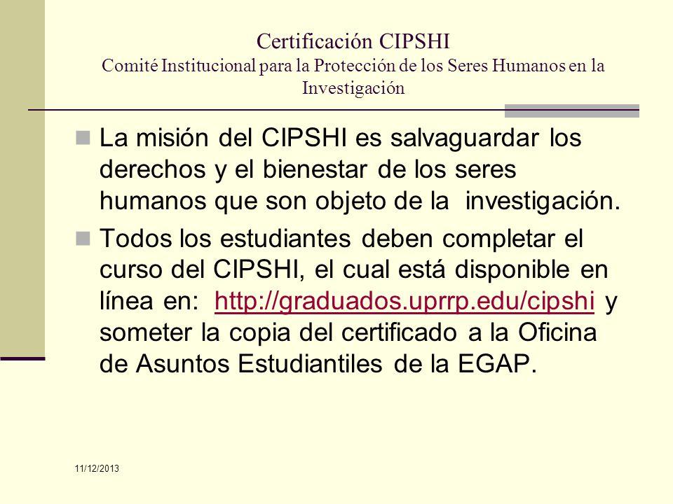 Certificación CIPSHI Comité Institucional para la Protección de los Seres Humanos en la Investigación