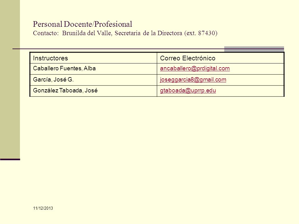 Personal Docente/Profesional Contacto: Brunilda del Valle, Secretaria de la Directora (ext. 87430)