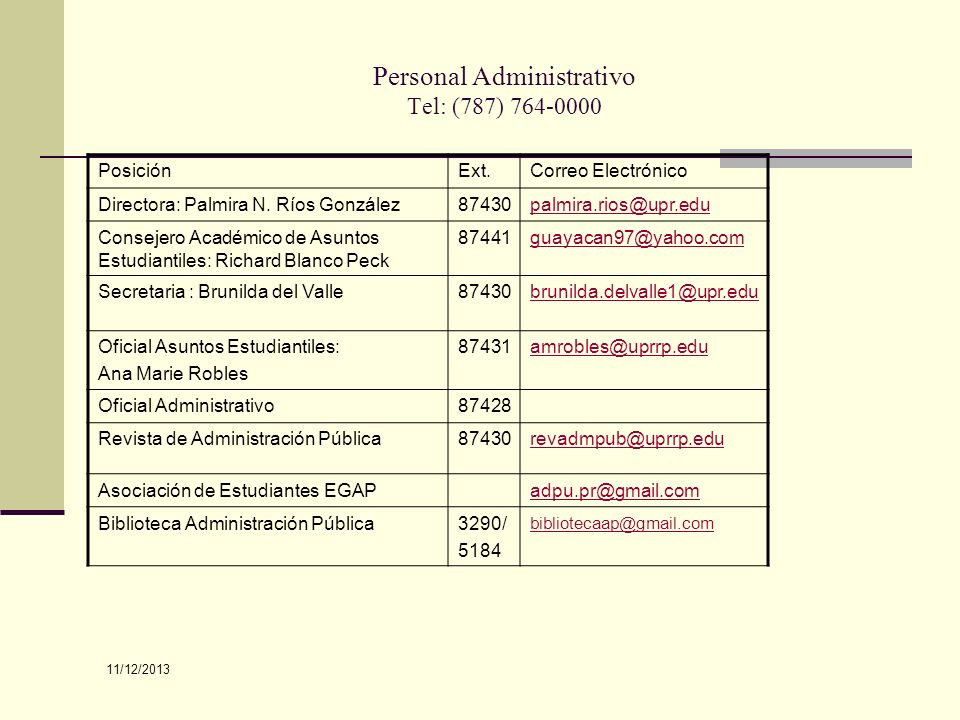 Personal Administrativo Tel: (787) 764-0000