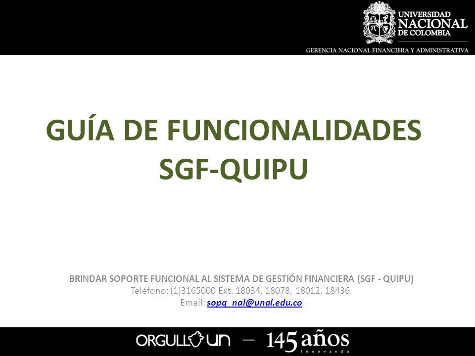 GUÍA DE FUNCIONALIDADES SGF-QUIPU