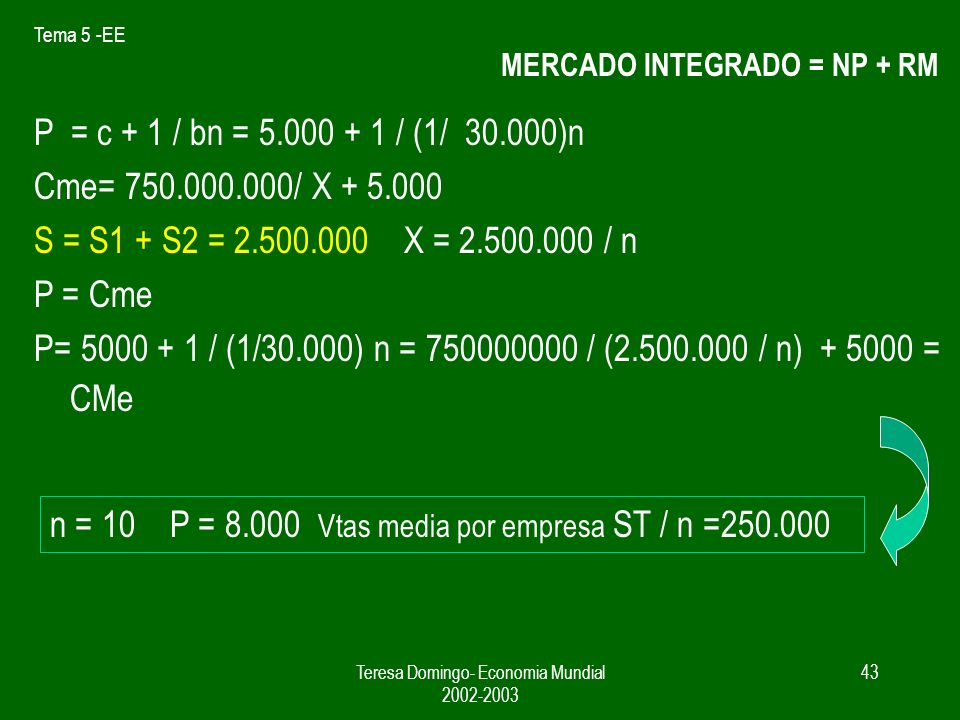 MERCADO INTEGRADO = NP + RM