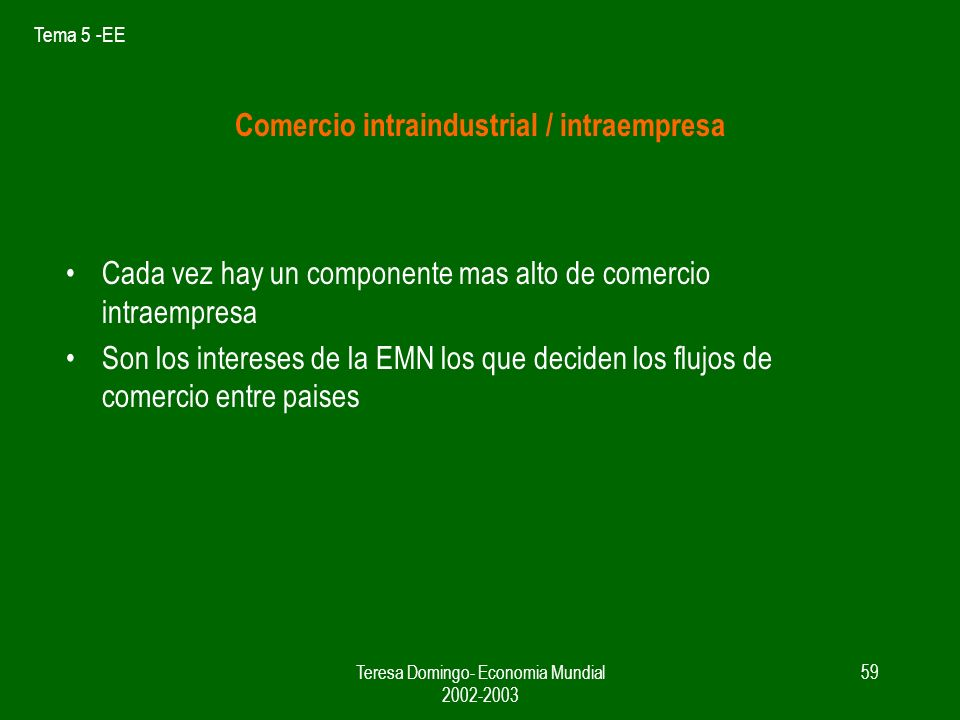 Comercio intraindustrial / intraempresa