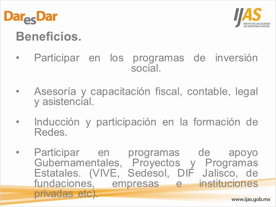 Beneficios. Participar en los programas de inversión social.