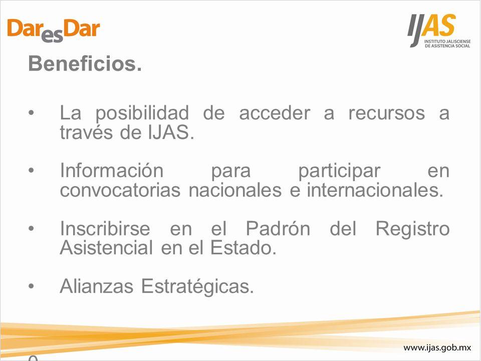 Beneficios. La posibilidad de acceder a recursos a través de IJAS.