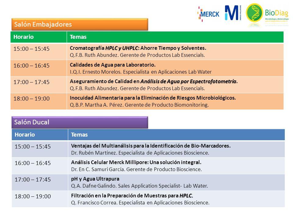 Salón Embajadores Salón Ducal Horario Temas 15:00 – 15:45