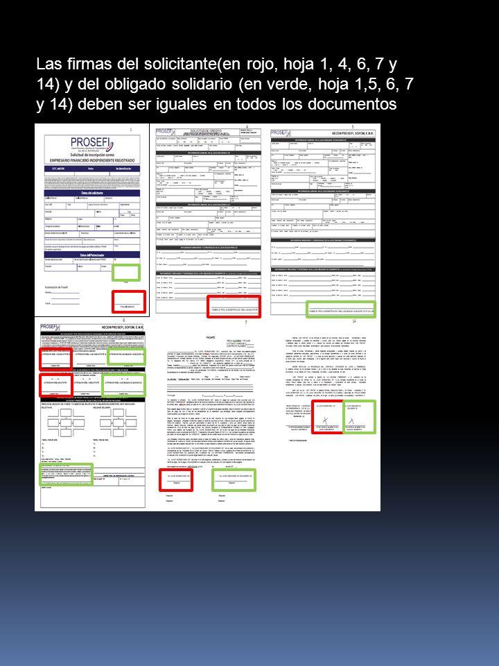 Las firmas del solicitante(en rojo, hoja 1, 4, 6, 7 y 14) y del obligado solidario (en verde, hoja 1,5, 6, 7 y 14) deben ser iguales en todos los documentos