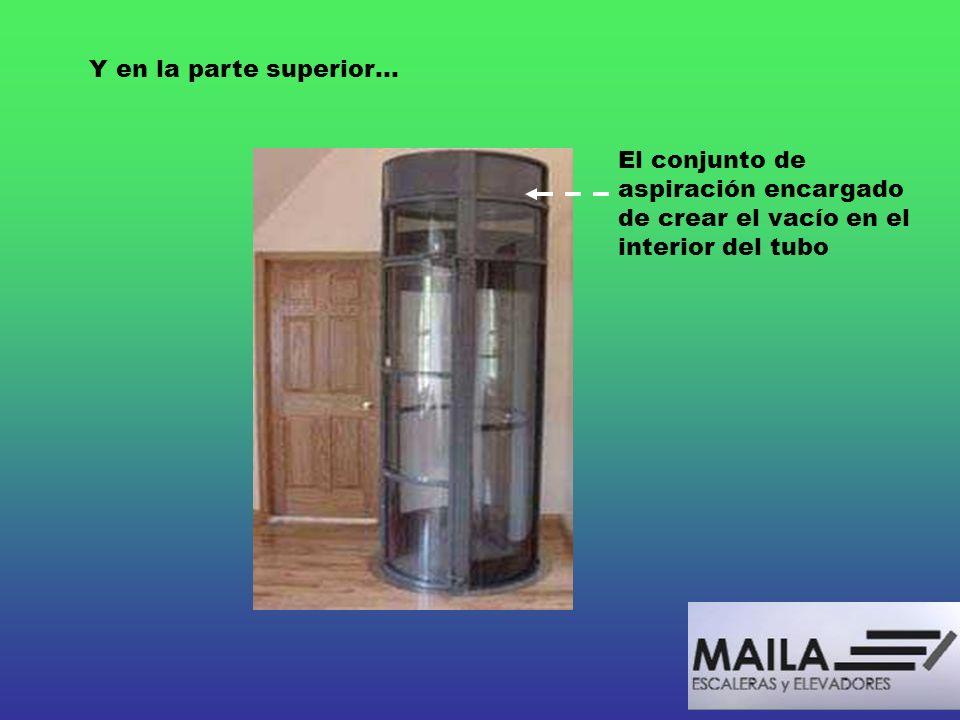 Y en la parte superior… El conjunto de aspiración encargado de crear el vacío en el interior del tubo.