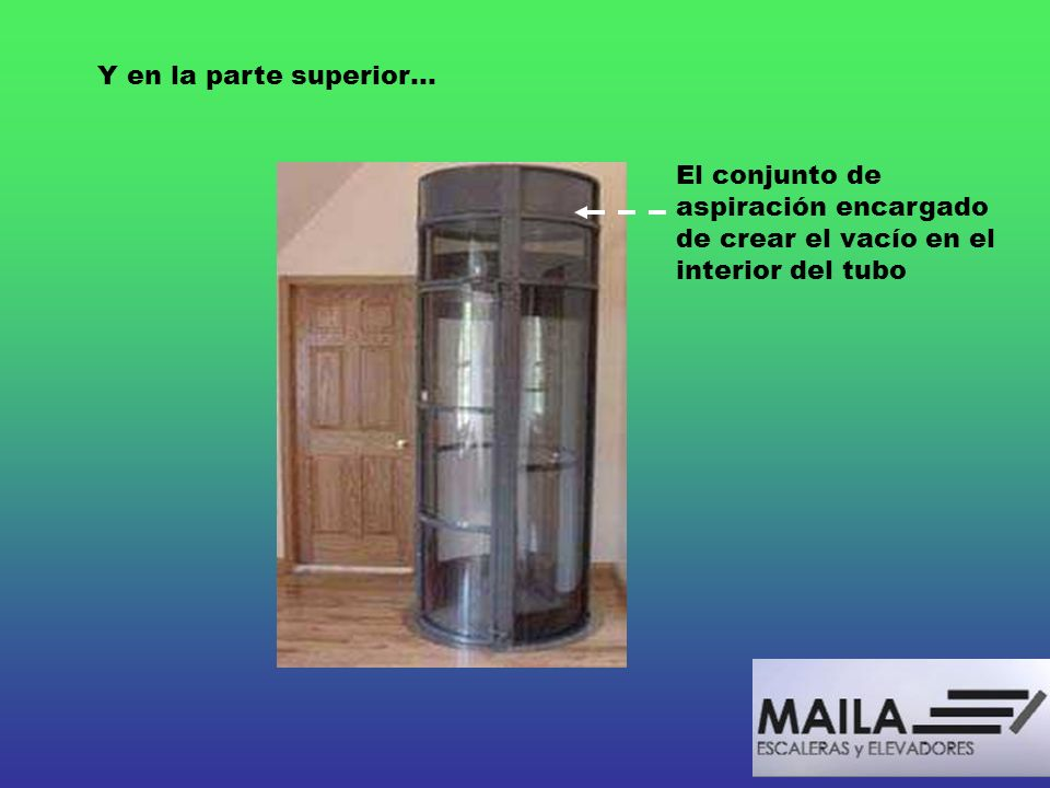Y en la parte superior…El conjunto de aspiración encargado de crear el vacío en el interior del tubo.