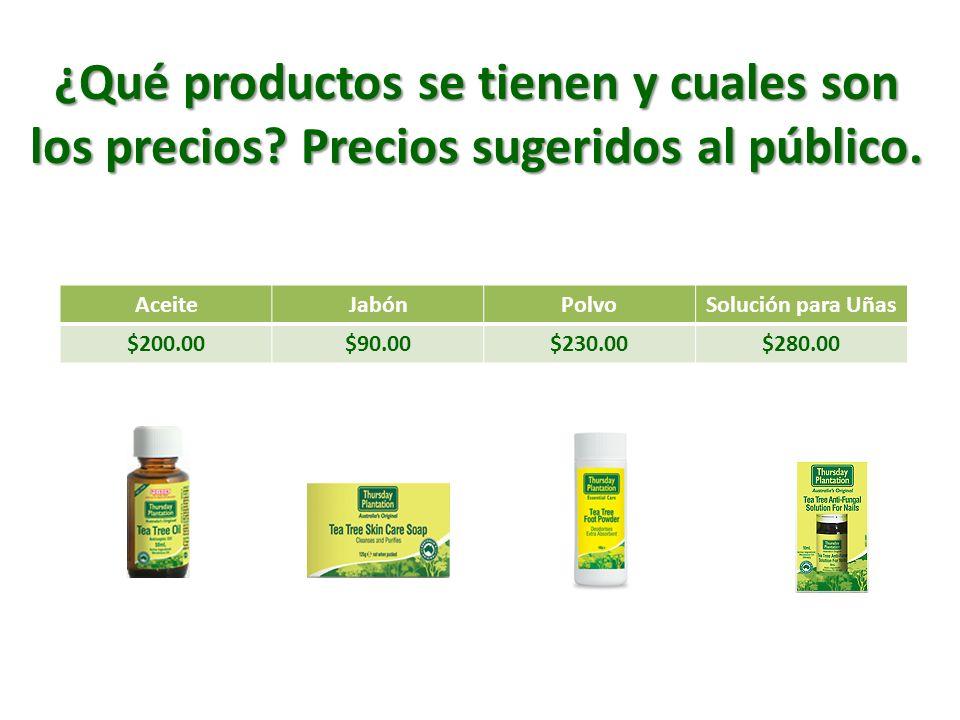 ¿Qué productos se tienen y cuales son los precios Precios sugeridos al público. Aceite. Jabón.