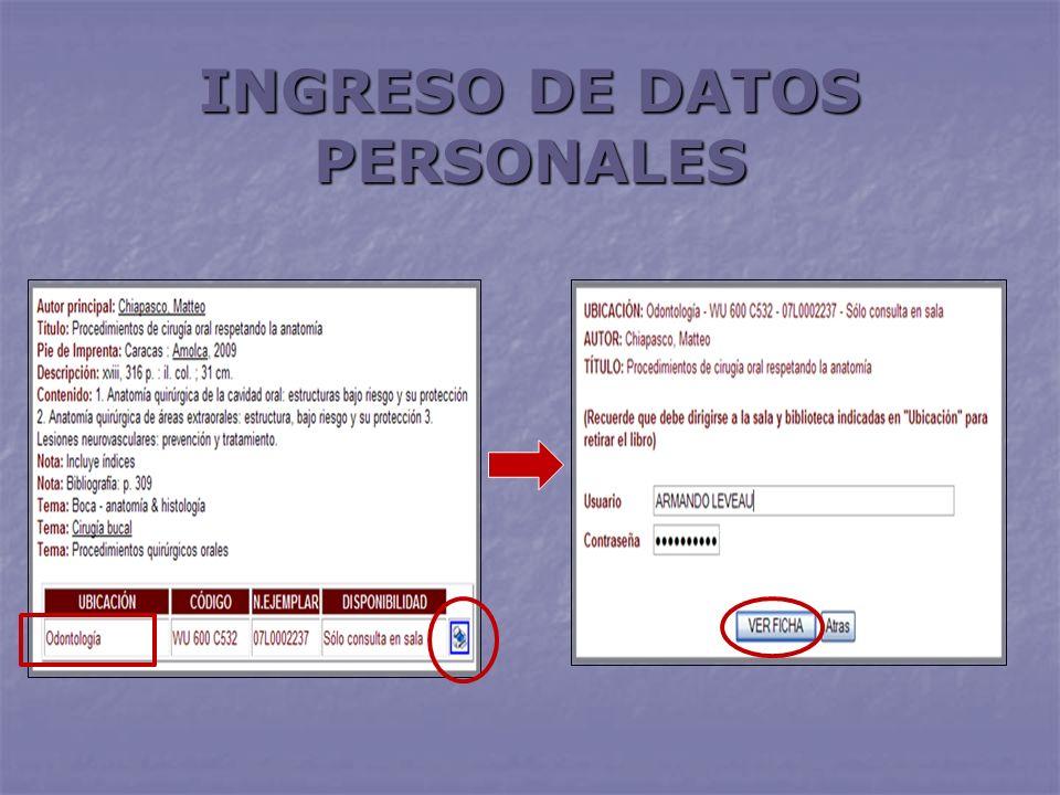 INGRESO DE DATOS PERSONALES