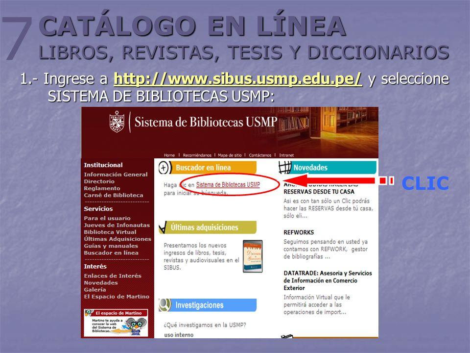CATÁLOGO EN LÍNEA LIBROS, REVISTAS, TESIS Y DICCIONARIOS