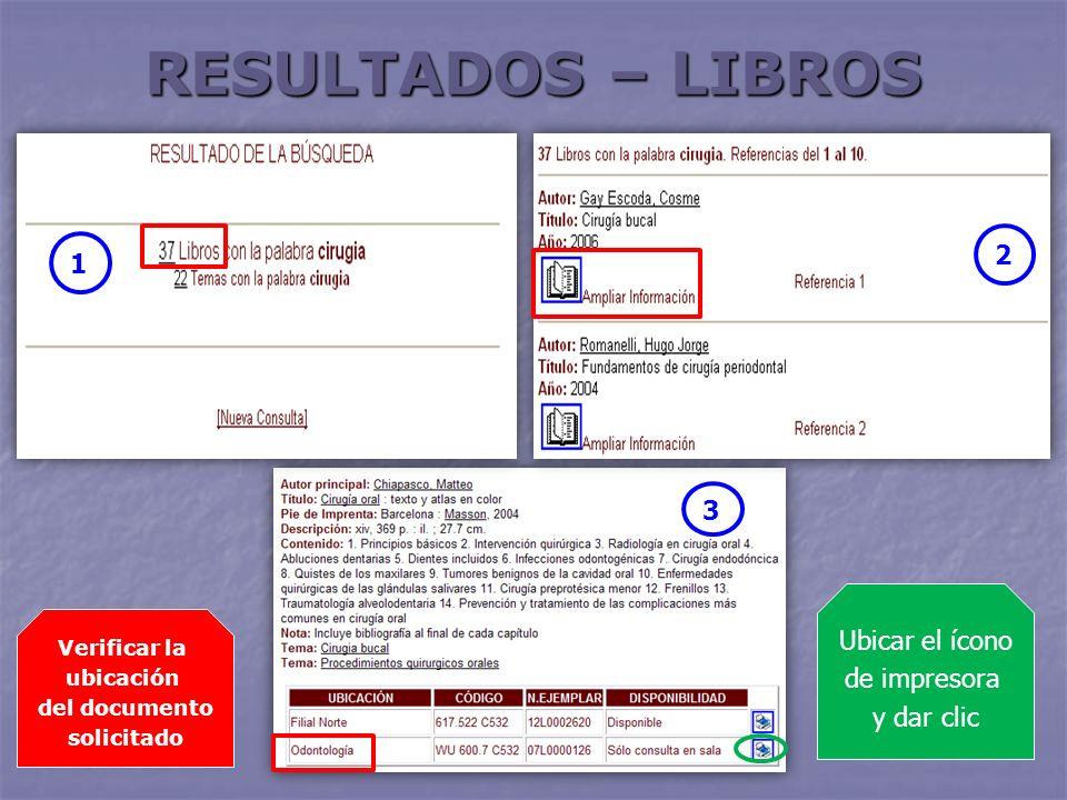 RESULTADOS – LIBROS 2 1 3 Ubicar el ícono de impresora y dar clic