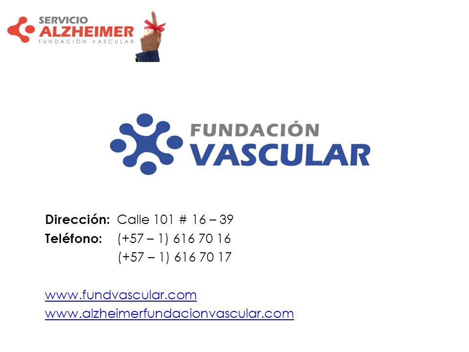 Dirección: Calle 101 # 16 – 39 Teléfono: (+57 – 1) 616 70 16. (+57 – 1) 616 70 17. www.fundvascular.com.