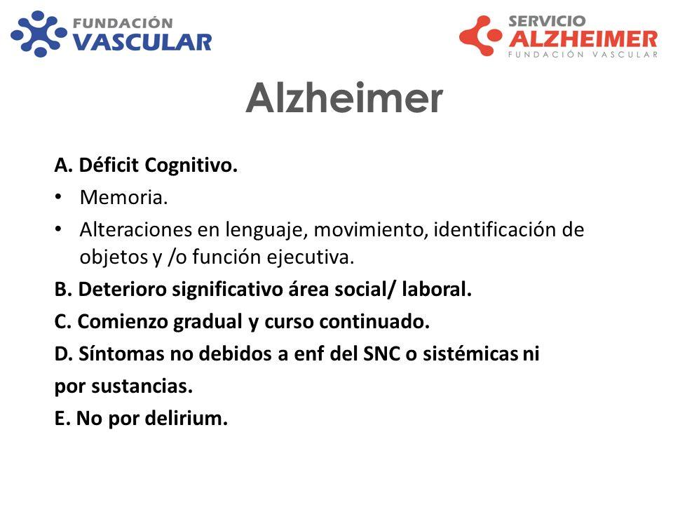 Alzheimer A. Déficit Cognitivo. Memoria.