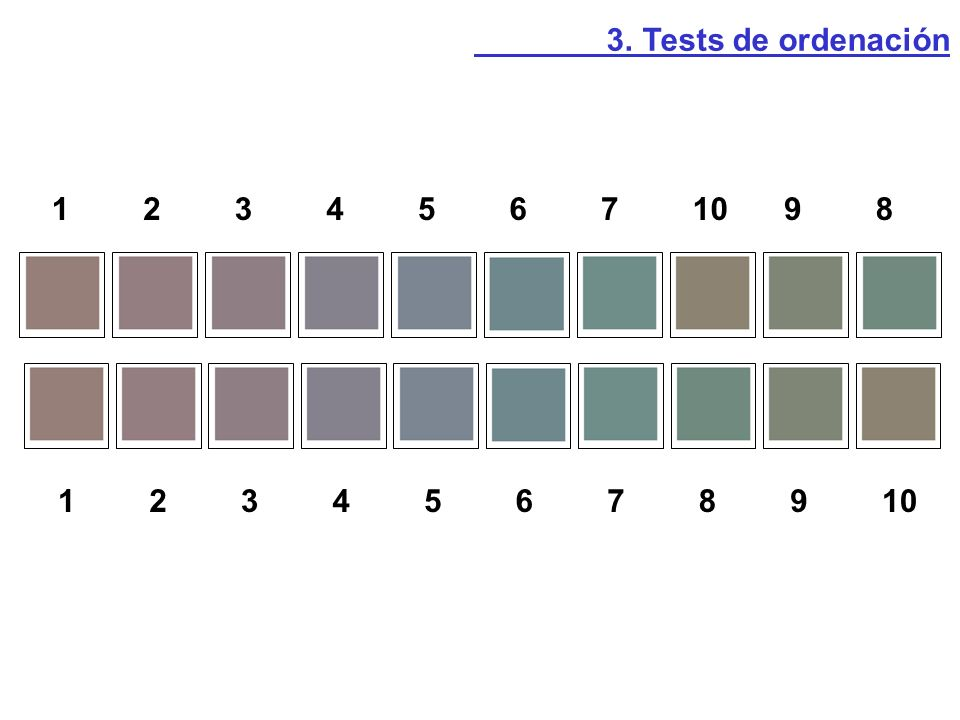3. Tests de ordenación 1 2 3 4 5 6 7 10 9 8 1 2 3 4 5 6 7 8 9 10