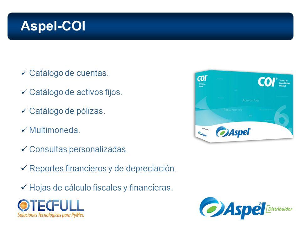Aspel-COI Catálogo de cuentas. Catálogo de activos fijos.