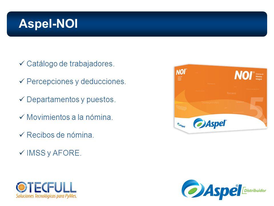 Aspel-NOI Catálogo de trabajadores. Percepciones y deducciones.