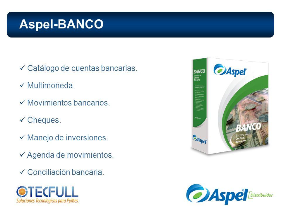 Aspel-BANCO Catálogo de cuentas bancarias. Multimoneda.