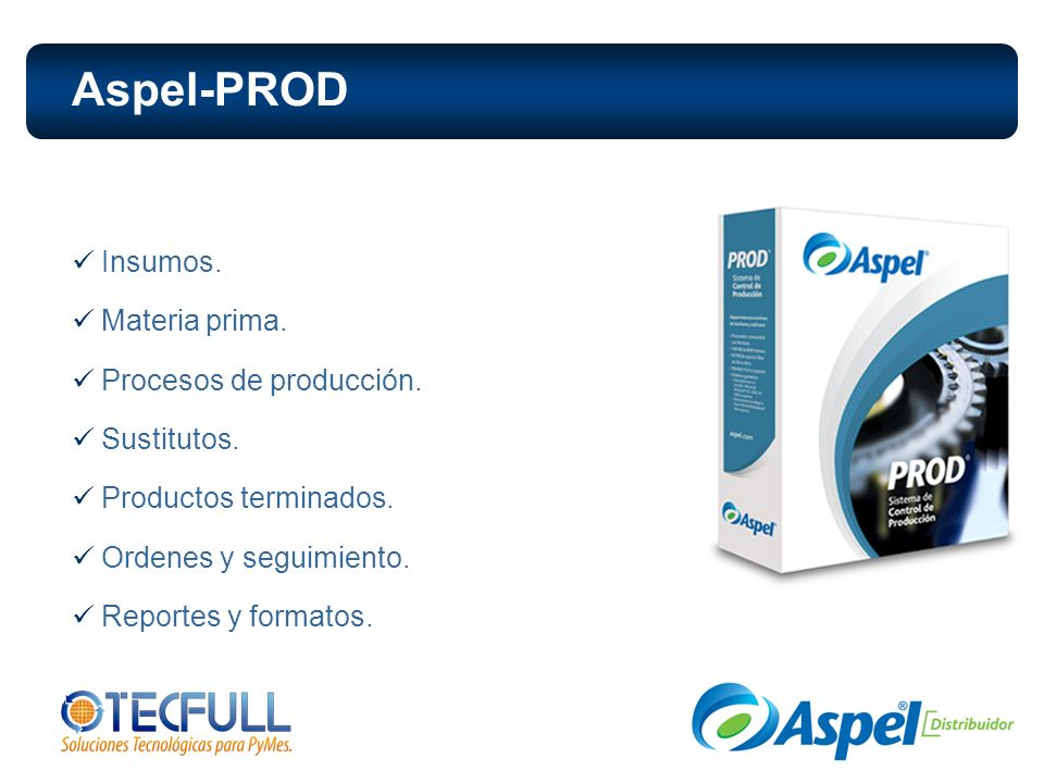 Aspel-PROD Insumos. Materia prima. Procesos de producción. Sustitutos.
