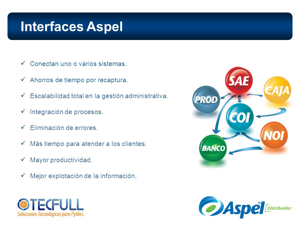 Interfaces Aspel Conectan uno o varios sistemas.