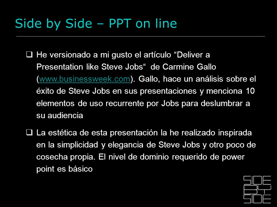 Side by Side – PPT on line