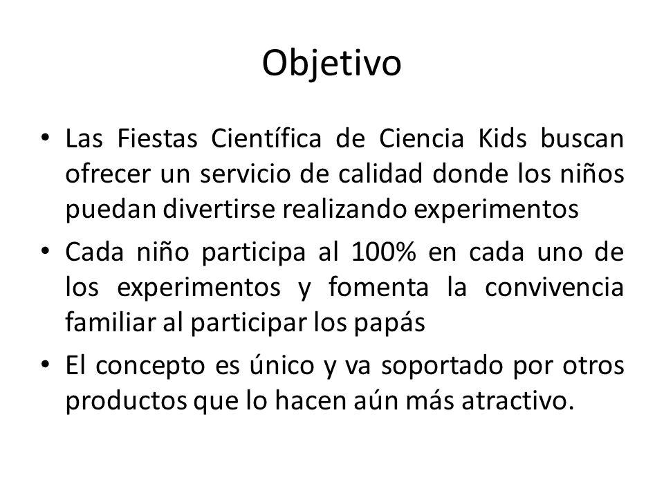 ObjetivoLas Fiestas Científica de Ciencia Kids buscan ofrecer un servicio de calidad donde los niños puedan divertirse realizando experimentos.