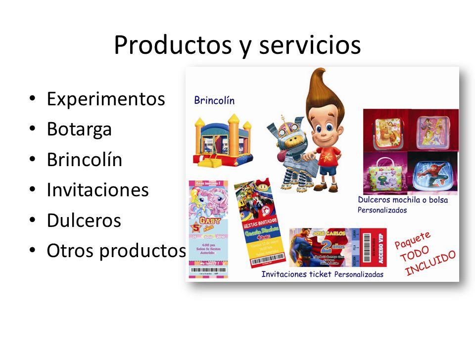 Productos y servicios Experimentos Botarga Brincolín Invitaciones