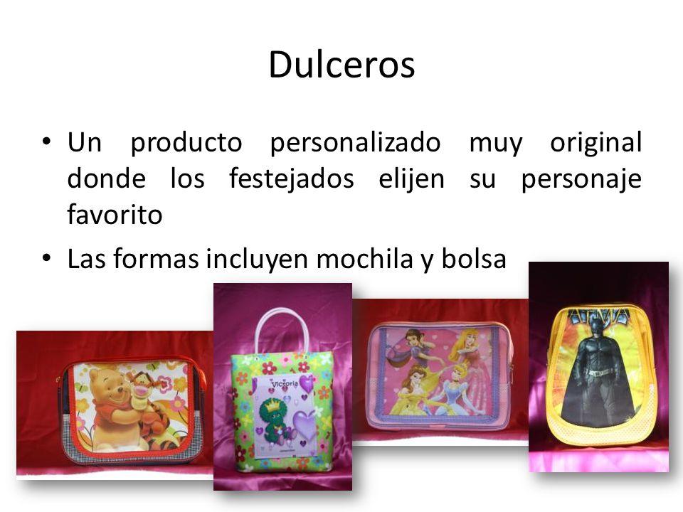 Dulceros Un producto personalizado muy original donde los festejados elijen su personaje favorito.