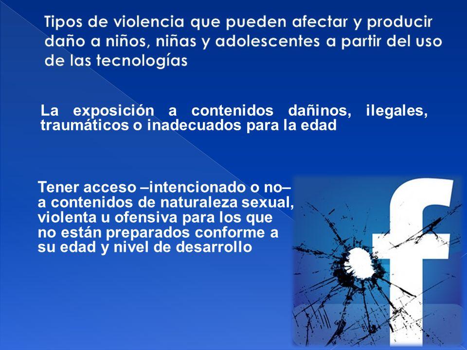 Tipos de violencia que pueden afectar y producir daño a niños, niñas y adolescentes a partir del uso de las tecnologías