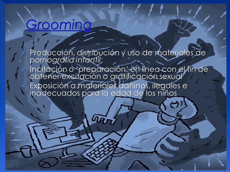 Grooming Producción, distribución y uso de materiales de pornografía infantil;