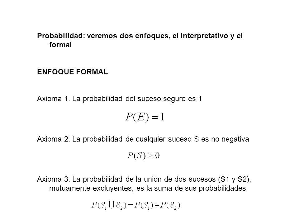 Probabilidad: veremos dos enfoques, el interpretativo y el formal