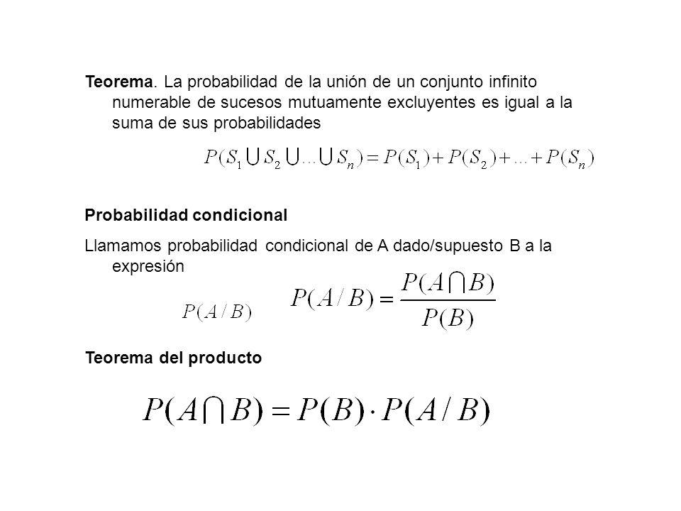 Teorema. La probabilidad de la unión de un conjunto infinito numerable de sucesos mutuamente excluyentes es igual a la suma de sus probabilidades