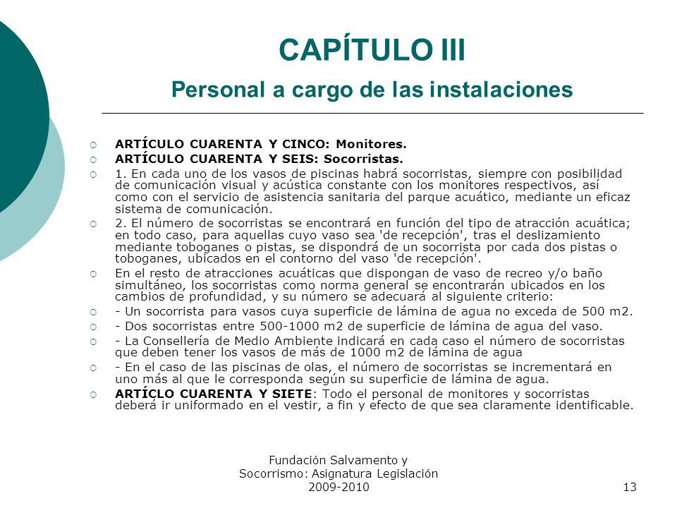 CAPÍTULO III Personal a cargo de las instalaciones