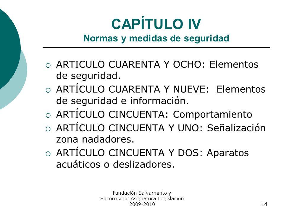 CAPÍTULO IV Normas y medidas de seguridad