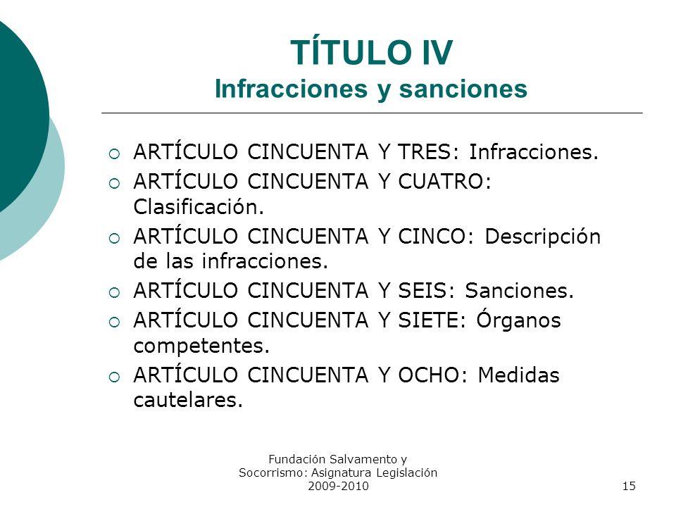 TÍTULO IV Infracciones y sanciones