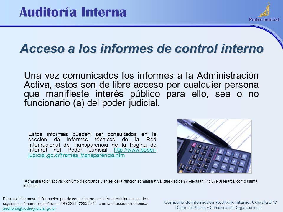 Acceso a los informes de control interno